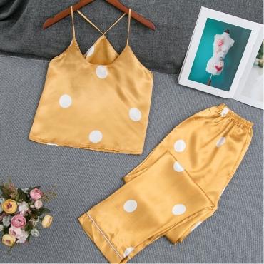 Lovely Leisure Dot Print Yellow Sleepwear