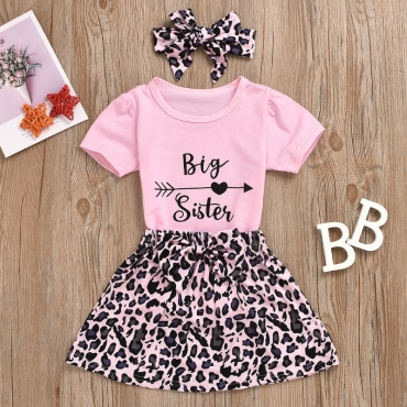 Lovely Stylish Print Pink Girl Two-piece Skirt Set