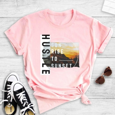 Lovely Leisure O Neck Letter Print Pink T-shirt
