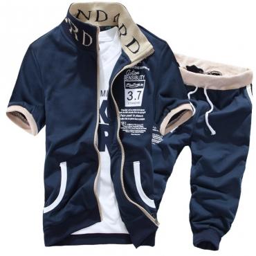 Lovely Sportswear Zipper Design Navy Blue Two-piece Shorts Set