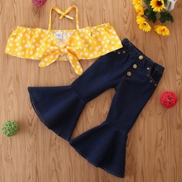 Lovely Stylish Dot Print Yellow Girl Two-piece Pants Set