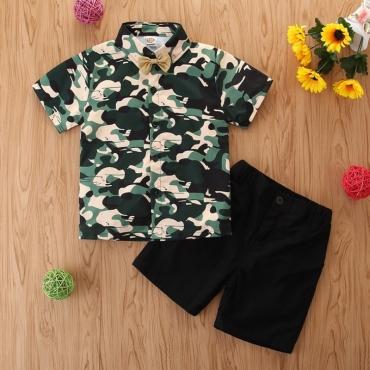 Lovely Stylish Camo Print Army GreenBoy Two-piece Shorts Set