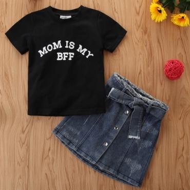 Lovely Leisure Letter Print Black Girl Two-piece Skirt Set