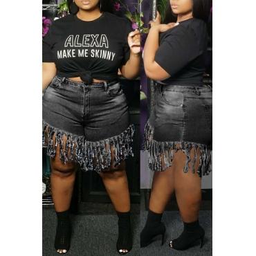 Lovely Stylish Tassel Design Black Plus Size Shorts