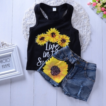 Lovely Casual Print Black Girl Two-piece Shorts Set