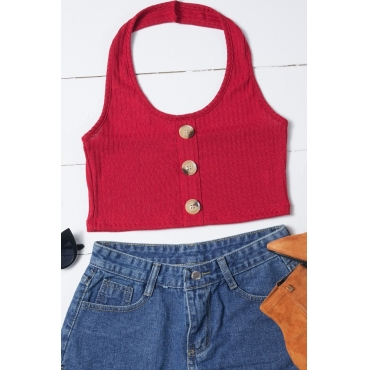 Lovely Casual Buttons Design Red Camisole