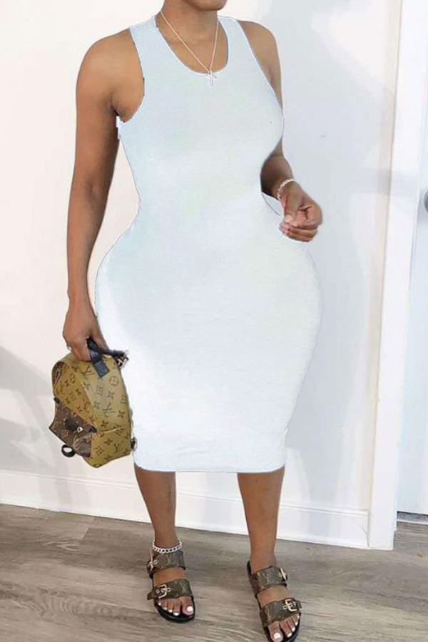 Lovely Trendy Hollow-out White Mid Calf Plus Size Dress