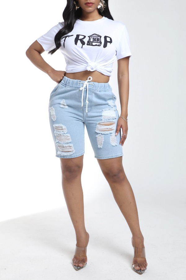 Lovely Ccasual O Neck Print White T-shirt