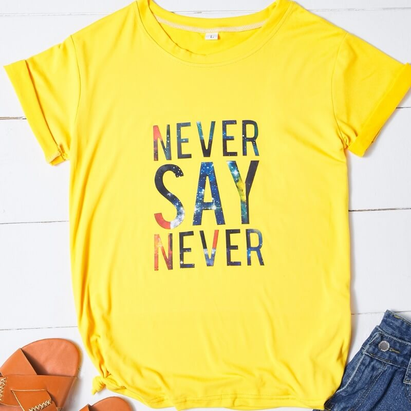 Lovely Casual O Neck Letter Yellow T-shirt