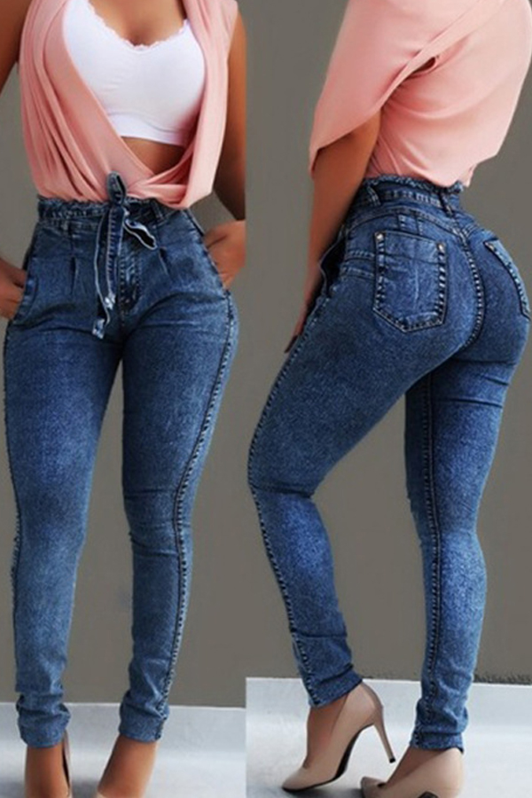 Lovely Stylish Lace-up Deep Blue Plus Size Jeans