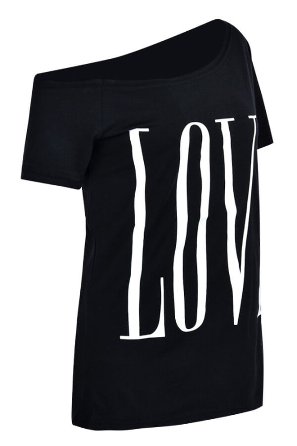 Lovely Casual Letter Print Black Plus Size T-shirt