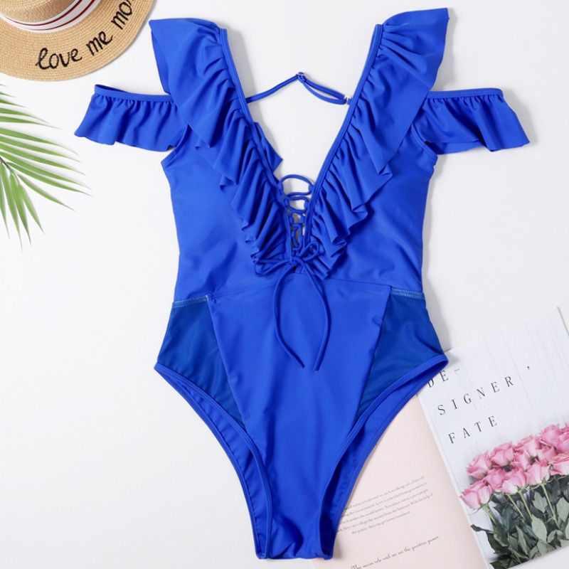 Lovely Cut-Out Blue One-piece Swimsuit
