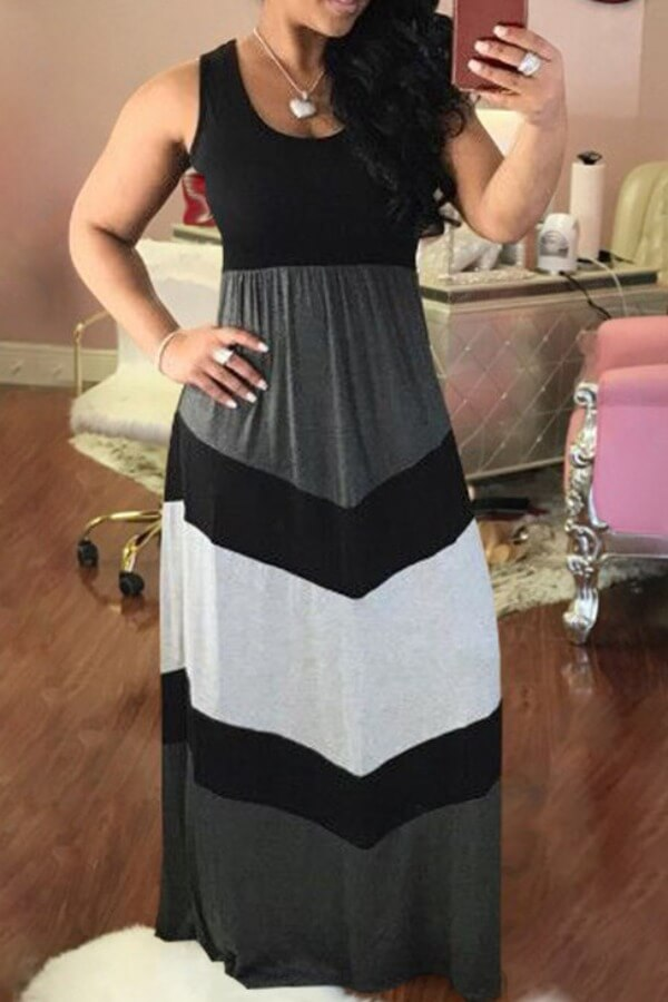 Lovely Casual Patchwork Black Maxi Plus Size Dress