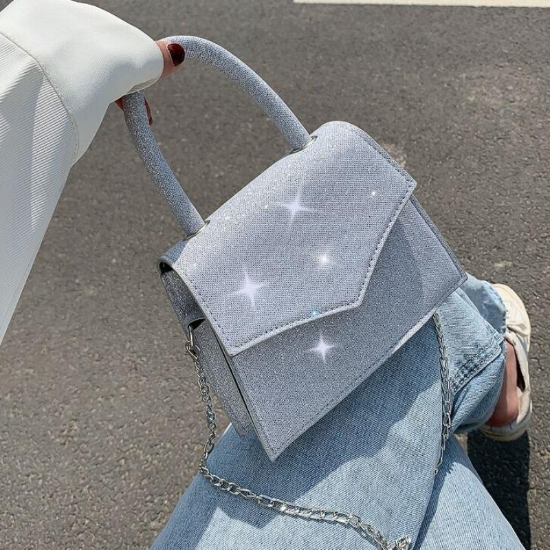 Lovely Stylish Chain Strap Grey Crossbody Bag