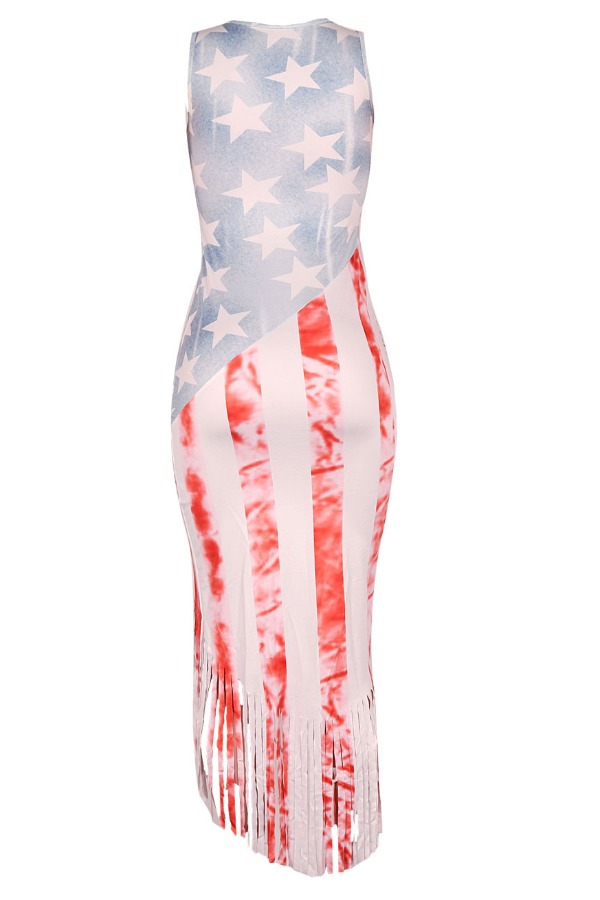 Lovely Independence Day Casual Print White Mid Cal