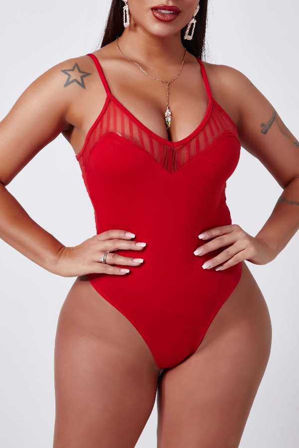 Lovely Sexy Patchwork Red Bodysuit