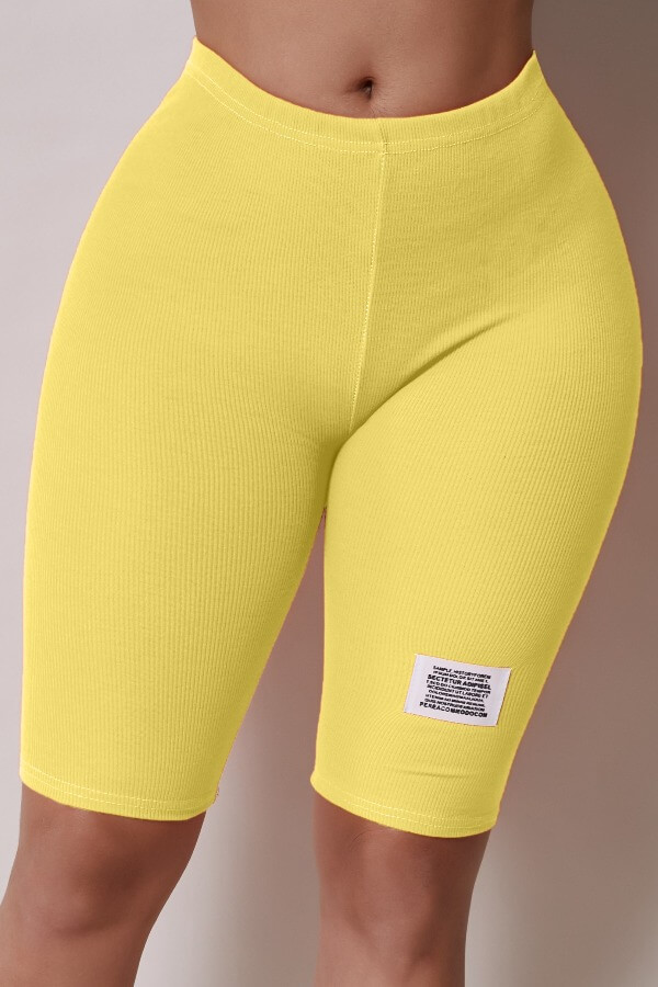 Lovely Casual Basic Skinny Yellow Shorts фото