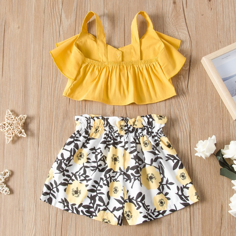 Lovely Sweet Print YellowGirl Two-piece Shorts Set