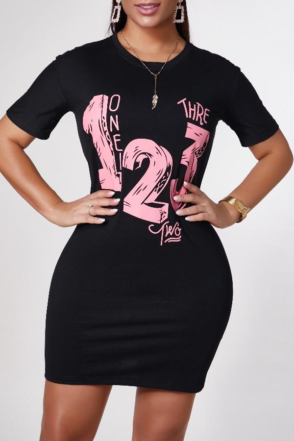 Lovely Casual O Neck Letter Print Black Mini Dress