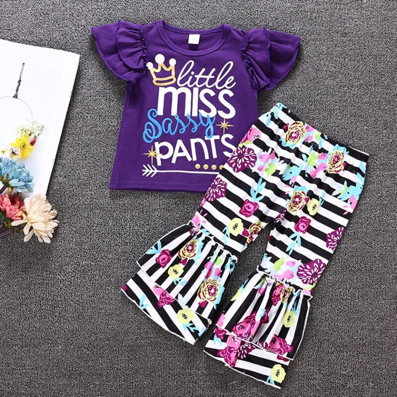 Lovely Casual Print Purple Girl Two-piece Pants Se