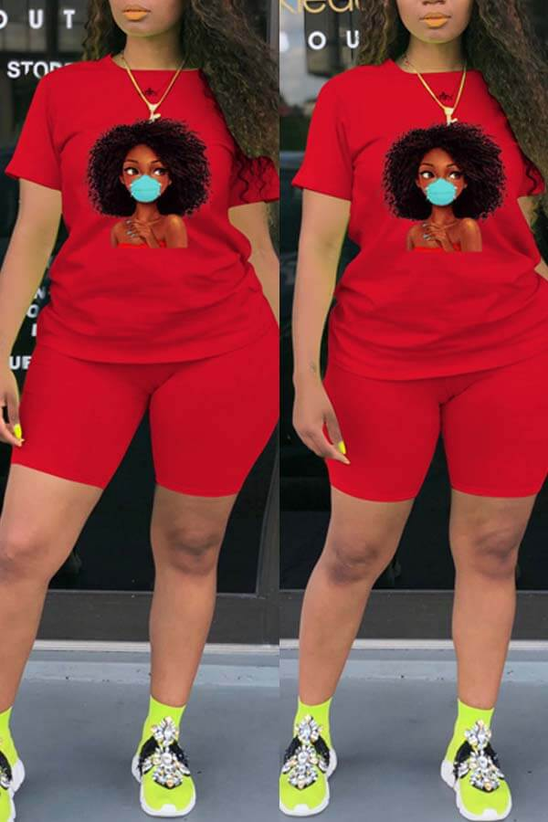 Lovely Leisure Print Red Plus Size Two-piece Shorts Set