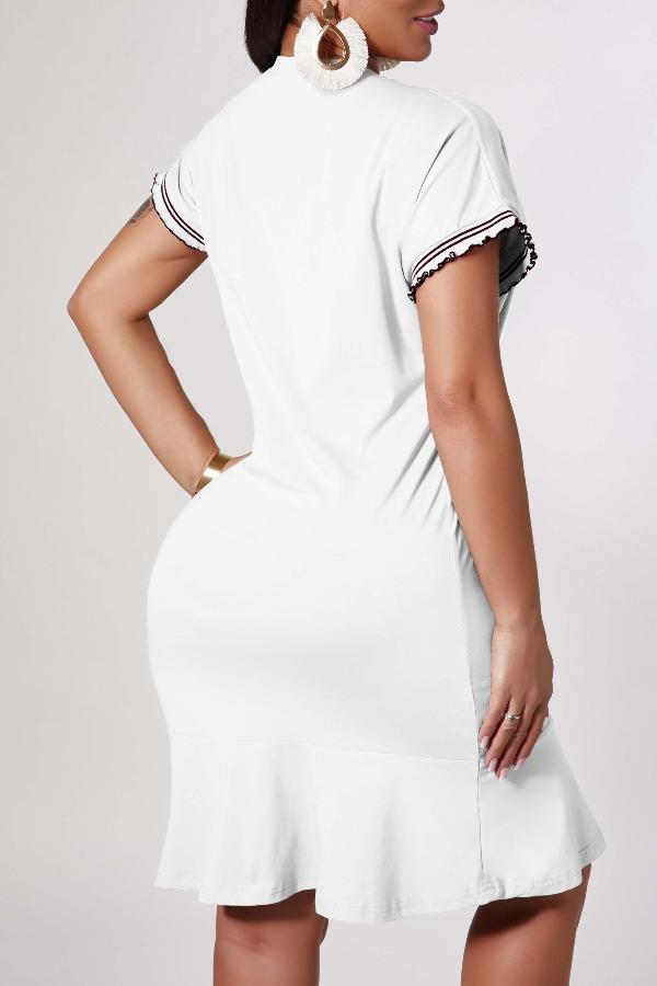 lovely Casual Letter White Knee Length Dress