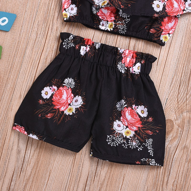 lovely Stylish Floral Print Black Girl Two-piece Shorts Set