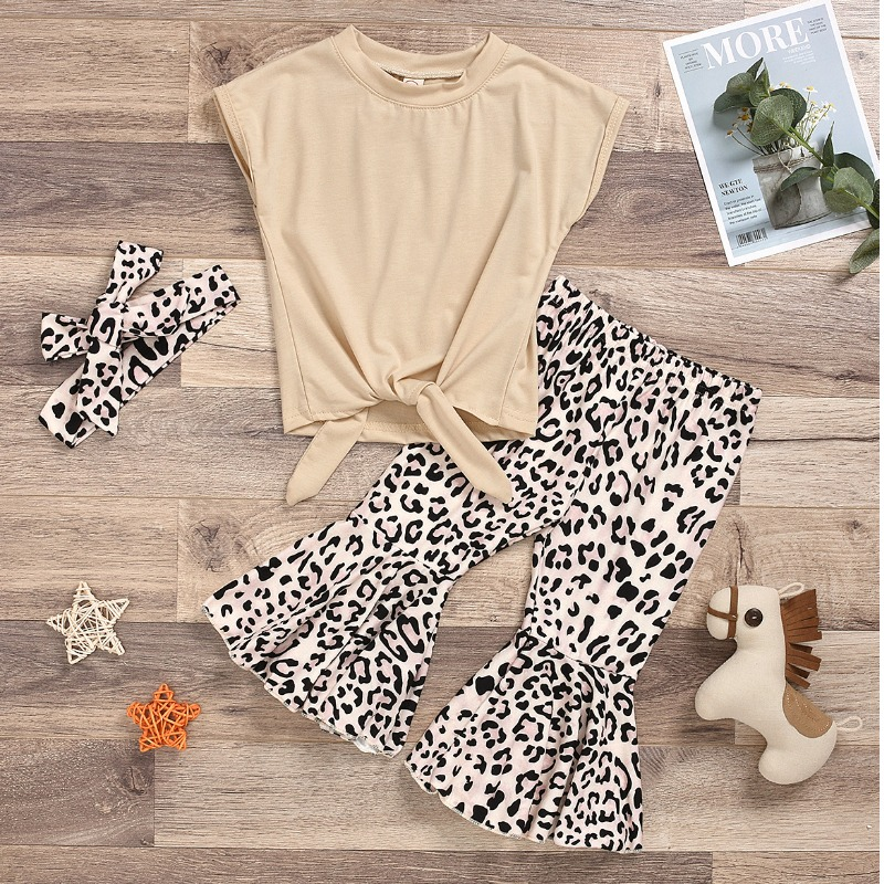 Girls Two-piece Pants Set lovely Casual Print BeigeGirl Two-piece Pants Set фото
