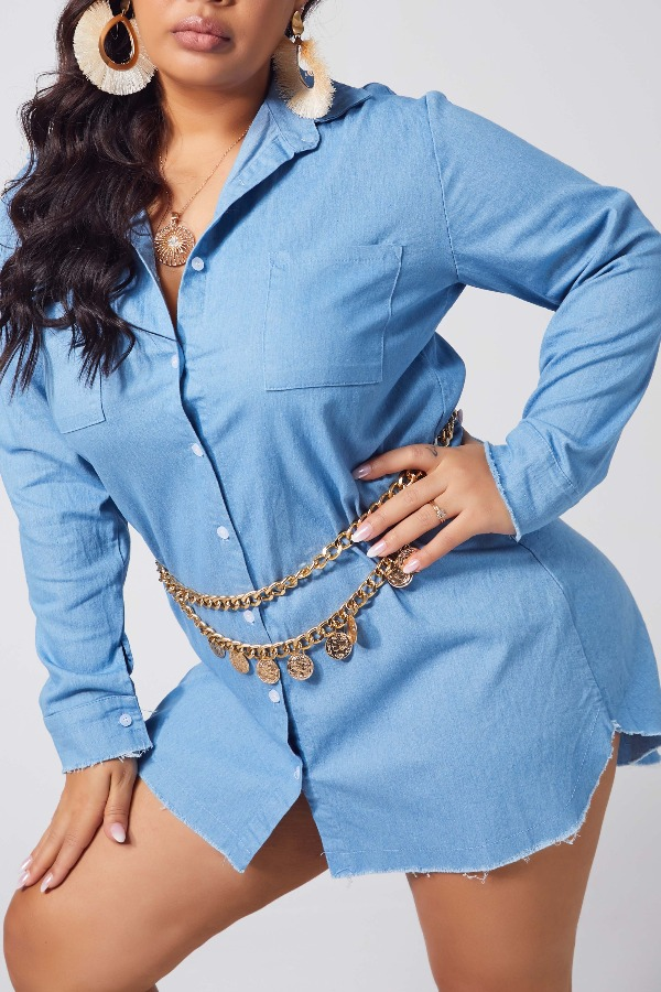lovely Casual Buttons Design Baby Blue Plus Size Coat