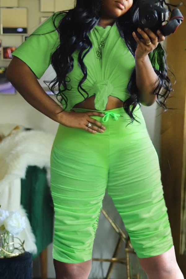Lovely Casual Fold Design Green Plus Size Two-piece Shorts Set фото