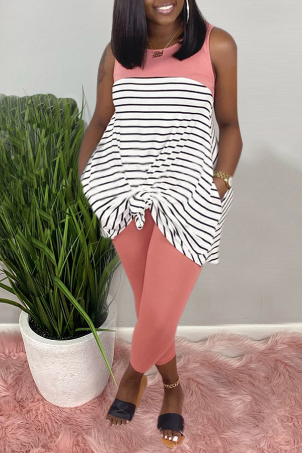 Lovely Casual Striped Pink Plus Size Two-piece Pants Set фото