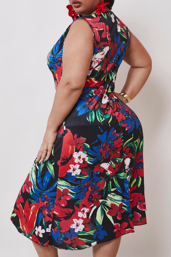 lovely Casual Plants Print Red Knee Length Plus Size Dress