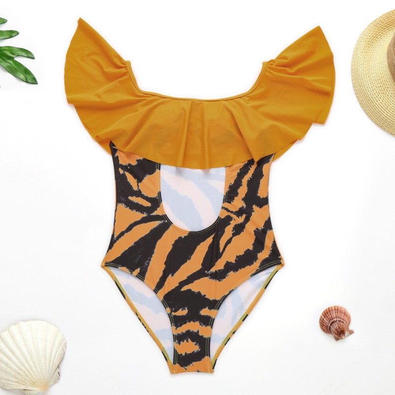 lovely Cut-Out Print Yellow One-piece Swimsuit