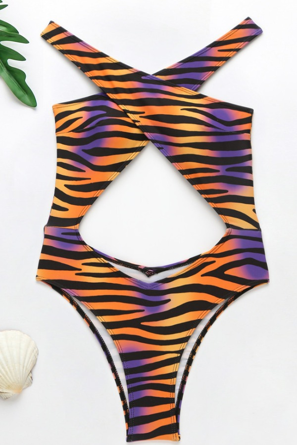 lovely Cut-Out Striped Print One-piece Swimsuit