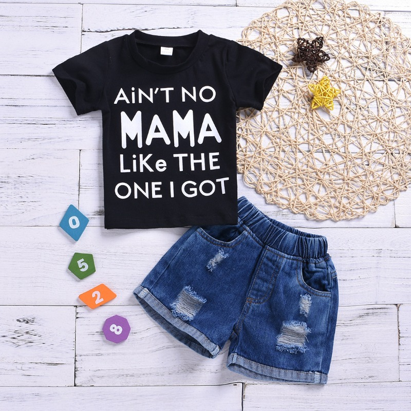 Boys Two-piece Shorts Set lovely Leisure Letter Print Black Boy Two-piece Shorts Set фото