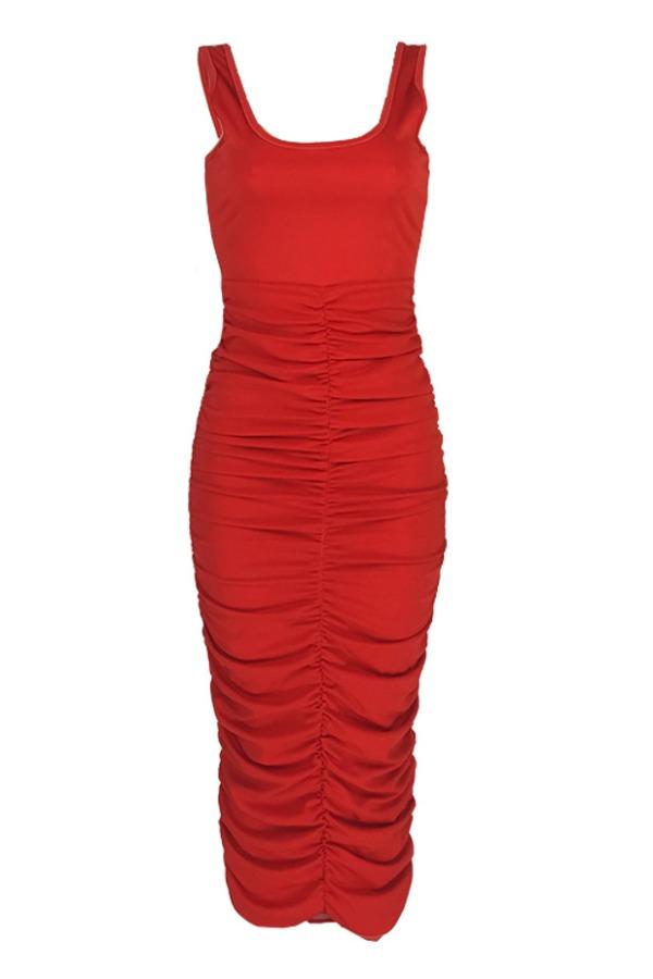 lovely Leisure Fold Design Red Ankle Length Dress