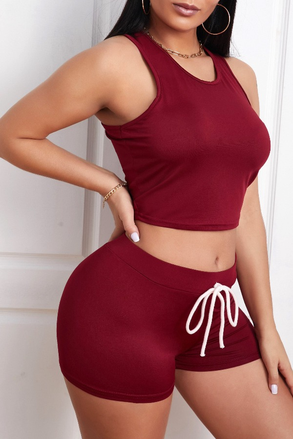 Lovely Leisure Lace-up Wine Red Loungewear