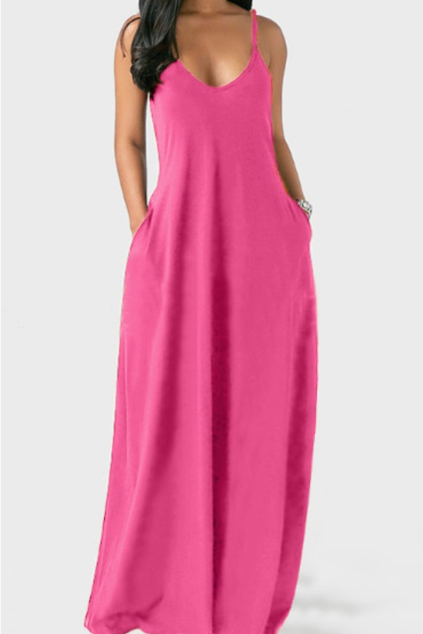 Lovely Leisure Pocket Patched Pink Maxi Plus Size Dress