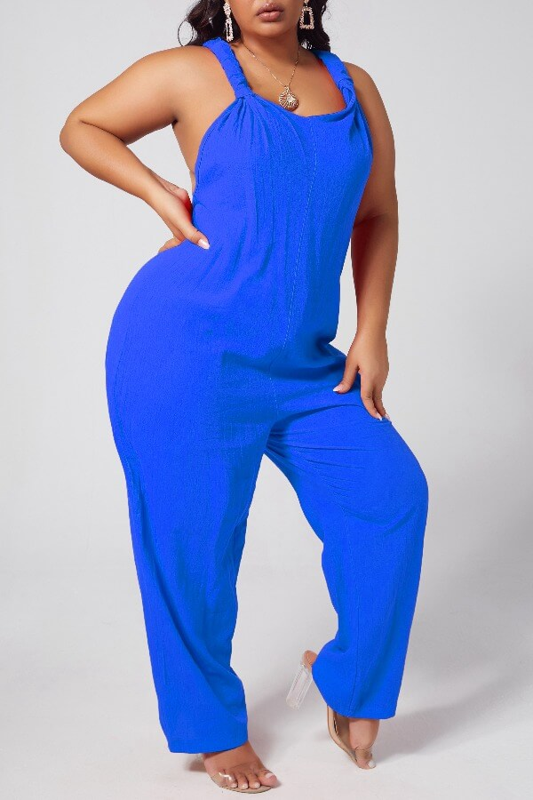 Lovely Leisure Loose Blue Plus Size One-piece Jumpsuit