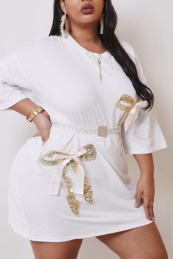 Lovely Casual Basic White Mini Plus Size Dress