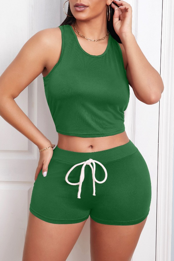 Lovely Leisure Lace-up Green Loungewear
