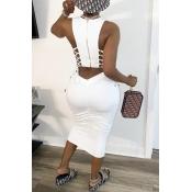 Lovely Leisure Bandage Design White Mid Calf Dress