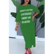 Lovely Casual Letter Green Ankle Length Dress