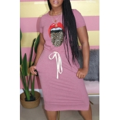 Lovely Leisure O Neck Lip Print Pink Knee Length D