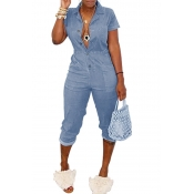 Lovely Casual Buttons Design Baby Blue One-piece J