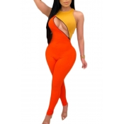 Lovely Sexy Patchwork Orange One-piece Jumpsuit