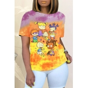 Lovely Street O Neck Cartoon Print Orange T-shirt