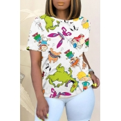 Lovely Street O Neck Cartoon Print White T-shirt