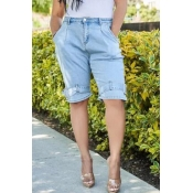 Lovely Leisure Pocket Patched Baby Blue Pants