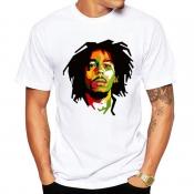 Men Lovely Casual O Neck Print White T-shirt